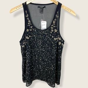 Forever 21 Sequin Black Tank Top Large NWT Blouse